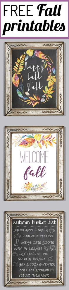 Add a touch of Fall to your home for free and with very little effort with these FREE Fall printables! This fresh color palette is amazing and perfect for Fall decor! Fall Crafts, Holiday Crafts, Holiday Fun, Diy Crafts, Quick Crafts, Thanksgiving Crafts, Decoupage, Welcome Fall, Chalkboard Art