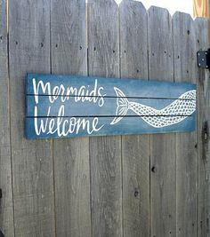 Mermaids Welcome Poolside Sign
