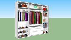 Large preview of 3D Model of Big open white closet