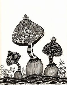 Mushrooms - Whimsical - Zentangle - Daniela Herbertz