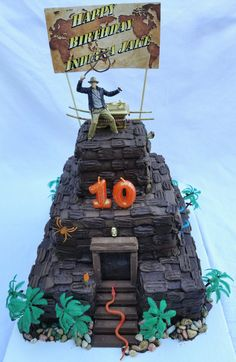 Indiana Jones Temple of Doom cake Indiana Jones Birthday Party, 9th Birthday, Birthday Cakes, Birthday Ideas, Birthday Parties, Indiana Jones Cake, Jungle Temple, Indiana Jones Adventure, Party Themes