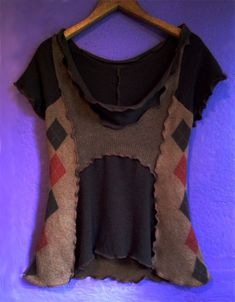 Handmade upcycled brown dyed wool & cashmere sweater tunic