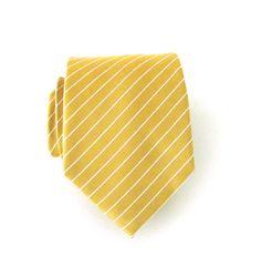 Mens Tie Necktie - Light Mustard Yellow and White Striped Tie. $18.95, via Etsy.