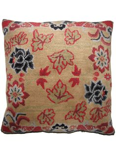 Drifting Flowers taupe   Unique rug pillow used for meditation or decoration. Designed in SoHo, Handwoven in the Himalayas #handmade   Tibetan #pillow   @RaloTibetanRugs