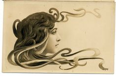 1900 - French Art Nouveau Style Postcard