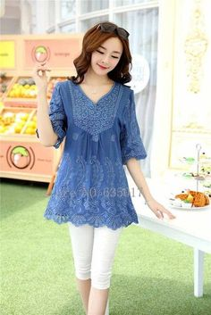 Casual vintage Embroidery Shirt Short Sleeve blouse ladies floral tops plus sizes