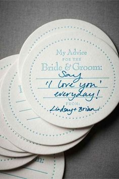 so lovely way to leave notes, messages, or an advice for the bride and groom