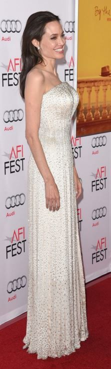Who made Angelina Jolie's white strapless gown?