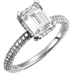 121636 / 14kt White / Engagement / Semi-Mount with Head / SI2-SI3 / Emerald / 08.00X06.00 MM / Polished / 1/2CTW SEMI-MOUNT ENG RING