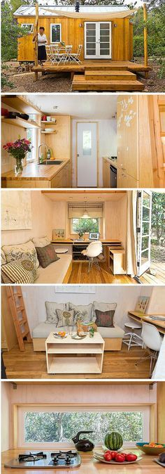 Vina's Tiny House - a 140 sq ft tiny house in Ojai, California, includes plenty of blonde wood and an airy, well-lit feeling. | Tiny Homes