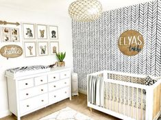 Baby Nursery: Easy and Cozy Baby Room Ideas for Girl and Boys modern safari gender neutral nursery with wood accents and black and white chevron walpaper Baby Room Boy, Baby Bedroom, Baby Room Decor, Nursery Room, Nursery Decor, Themed Nursery, Safari Nursery, Animal Theme Nursery, Tan Nursery