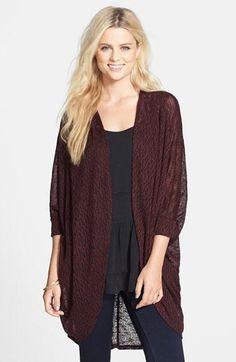 Junior Women's Painted Threads Oversized Sheer Knit Cardigan