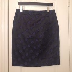 J.Crew The Pencil Skirt Black, shiny pencil skirt with navy blue polka dots. J. Crew Skirts Pencil