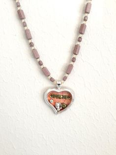 Sale MOM ShadowBox Heart Lavender Beaded Pendant Necklace & Earrings set by NatureAngels, $40.00