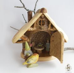 Tree Wall cupboard with Blue Fairy Wooden Tree House, Tree Houses, Wall Cupboards, Blue Fairy, Wooden Dollhouse, Miniature Houses, Tree Wall, Small World, Elf