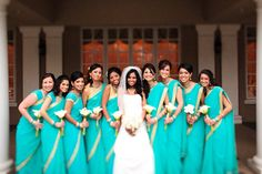 Ideas For Wedding Indian Dress Bridesmaid Saree Bridesmaid Saree, Indian Bridesmaids, Gold Bridesmaid Dresses, Bridesmaid Outfit, Bridesmaids And Groomsmen, Turquoise Bridesmaids, Bridesmaid Bouquet, Indian Wedding Gowns, Saree Wedding