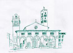 Impruneta (Toscane). Juillet 2012.  Plume à l'encre de chine.