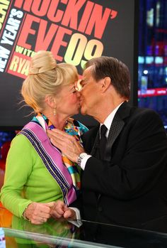 Dick Clark and his wife Kari celebrate onstage during Dick Clark's New Year's Rockin' Eve 2009 With Ryan Seacrest on December 31, 2008 in New York City