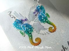 Rainbow Micro Seahorse earrings iridescent with by MadMarchMoon