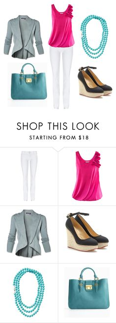 """""""Pink & Turquoise"""" by kateanfinson ❤ liked on Polyvore featuring Hudson Jeans, H&M, Charlotte Olympia, Stella & Dot, Miu Miu, white skinny jeans, turquoise leather bag, turquoise necklace, gray cardigan and black espadrille wedges"""