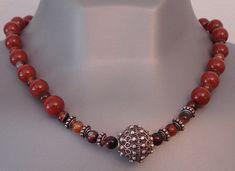 Carnelian necklace - Solid silver necklace - Antique silver necklace
