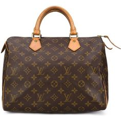 Louis Vuitton Vintage Speedy 30 Tote (1,280 CAD) ❤ liked on Polyvore featuring bags, handbags, tote bags, brown, genuine leather tote, monogram tote, monogrammed leather tote, vintage leather purse and brown tote