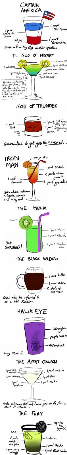 Avengers Cocktails Pinned From Junglegag - Click for more!