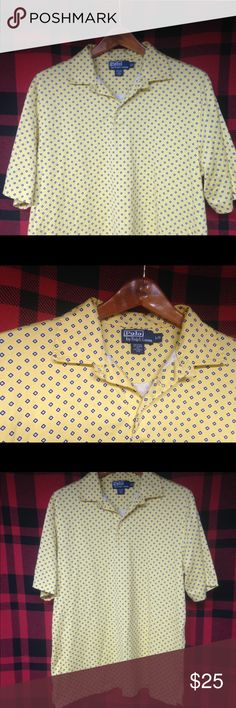 Euc Polo geometric diamond print Polo sz L Excellent used condition Polo Ralph Lauren geometric diamond print yellow and blue beautiful condition nice shirt sz L Polo by Ralph Lauren Shirts Polos