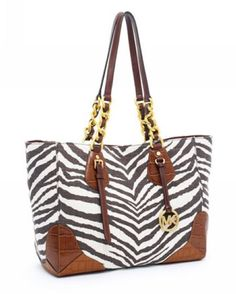 Michael Kors Darwin Eastwest Tote Tiger with Dark Brown Crocodile-embossed