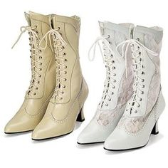 cheap victorian wedding dresses | Left: Victorian Leather & Lace Wedding Boots in white, beige or black