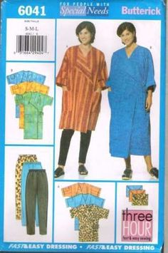 6041 Sewing Pattern Butterick Robe Cover-up Leggings and Bag S M L