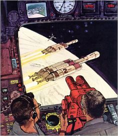 The First Manned Mission to Mars, Robert McCall. The Vault of Retro Sci-Fi Cyberpunk, Science Fiction Kunst, Classic Sci Fi, Vintage Space, Sci Fi Fantasy, Sci Fi Art, Comic Art, Comic Books, Concept Art