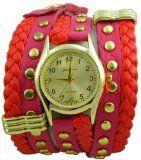 Geneva Platinum 12961812 Designer Inspired Braided Leather Wrap Watch-RED/HOT PINK $24.99