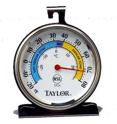 No.1 Best Seller    The extra-large, 3 1/4-inch dial features a glass lens and red pointer making it easy to read. This freezer/refrigerator thermometer has a range of -20degrees Fahrenheit to 80 degrees Fahrenheit.
