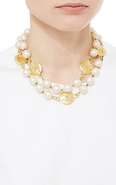 What Goes Around Comes Around - Chanel Pearl & Rough Coin Necklace