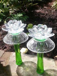 More from garden artist Garden Ornaments, Glass Ornaments, Glass Garden Flowers, Glass Plate Flowers, Glass Garden Art, Garden Totems, Art Flowers, Glass Art, Garden Sculpture