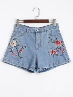 Shop for Floral Embroidered High Waisted Jean Shorts DENIM BLUE: Shorts 36 at ZAFUL. Only $22.13 and free shipping!