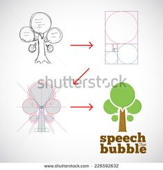 Speech Bubble Tree Abstract Vector Logo Template from Idea to Implementation with Golden Ratio and Hand Sketch - stock vector