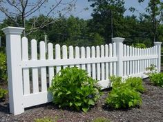 Home Remodeling Improvement Scalloped White Picket Fence | Vinyl ...