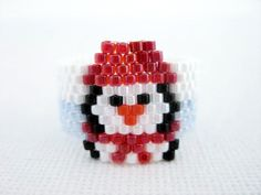 Peyote Ring Penguin Beaded Seed Bead - size 5, 6, 7, 8, 9, 10, 11, 12, 13