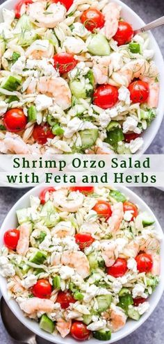 Shrimp Orzo Salad with Feta and Herbs | 1000 Orzo Salat, Feta Salat, Grilled Shrimp Recipes, Seafood Recipes, Recipe For Shrimp Salad, Salad With Shrimp, Orzo Recipes, Seafood Dishes, Recipes Dinner