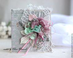 Купить Мятно-розовое счастье - мятный, розовый, серый цвет, Открытка ручной работы, открытка