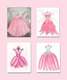 Girls room Decor, Princess Dress Wall Art, Baby Girl Nursery, Pink, SET OF 4 Fashion Dress Prints, Kids Decor, Kids Wall Art