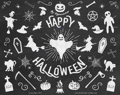 "Chalkboard Halloween Clipart Clip Art - ""Happy Halloween""  #etsy #digiworkshop #scrapbooking #illustration #creative #clipart #printables #crafting #chalkboard #halloween #chalk"