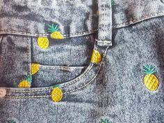 cacteu: tyghur: illuminance: blossyum: daragoj: tatongo-ember: saranicro: lovelovelovelove love is for losers L O V E Girly Outfits, Pretty Outfits, Look Fashion, Fashion Outfits, Diy Fashion, Pineapple Embroidery, Cute Pineapple, Pineapple Upside, Pineapple Clothes