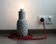 Lamp Bottla Design concrete Desk Lamp textile / by concreteedesign, Diy Lampe, Concrete Design, Diy Concrete, Beton Diy, Desk Lamp, Light Fixtures, Style Inspiration, Lights, Etsy