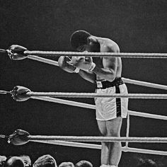 Muhammad Ali praying in the ring. He's not praying to the God of the Bible