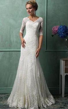 Satin keine Taille zeitloses bodenlanges sittsames Brautkleid mit Kapelle Schleppe