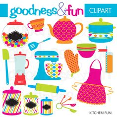 Kitchen Fun - great for scrapbooking, stationery, embroidery and more.