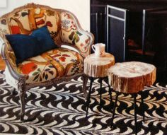 I like the way the ruggedness of these tables look with the rug and chair.